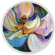 Sweet Magnoli Floral Abstract Round Beach Towel