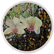 Sweet Magnolias Round Beach Towel