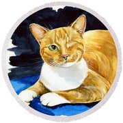 Sweet Melon - Ginger Tabby Cat Painting Round Beach Towel
