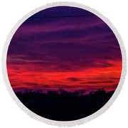 Sweet Nebraska Sunset 005 Round Beach Towel