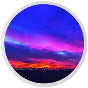 Sweet Nebraska Sunset 001 Round Beach Towel