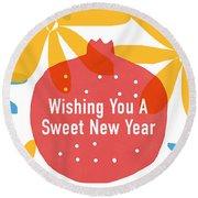 Sweet New Year Card- Art By Linda Woods Round Beach Towel