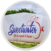 Sweetwater Sign  Round Beach Towel