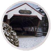Swift River Bridge Conway New Hampshire Round Beach Towel