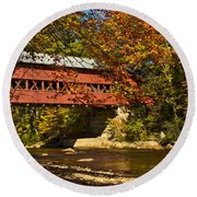 Swift River Covered Bridge In Conway New Hampshire Round Beach Towel