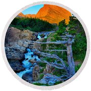 Swiftcurrent Falls Round Beach Towel