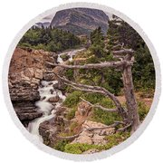 Swiftcurrent Lake Falls Round Beach Towel
