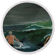 Swim At Your Own Risk Round Beach Towel