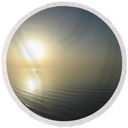 Swimming Between The Suns  Round Beach Towel