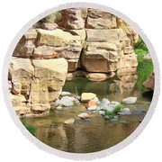 Swimming Hole At Slide Rock Round Beach Towel