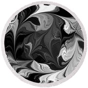 Swimming In Black And White - Abstract Round Beach Towel