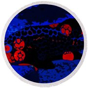 Swimming In Blue Coral Round Beach Towel