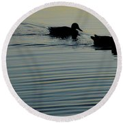 Swimming Into Ripples Two  Round Beach Towel
