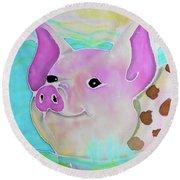 Swimming Piggy Round Beach Towel