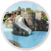 Swimming Pool With Slide For Children Round Beach Towel