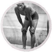 Swimming Star Duke Kahanamoku Round Beach Towel