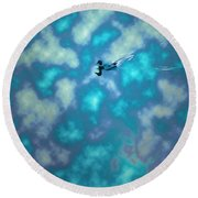 Swimming Through The Clouds Round Beach Towel
