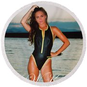 Swimsuit Girl Ad Round Beach Towel