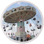 Swing Carousel At County Fair Round Beach Towel