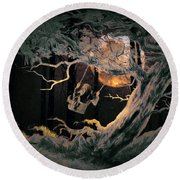 Swinging Through The Forest By Moonlight Round Beach Towel