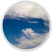 Swirl Of Clouds In A Blue Sky Round Beach Towel