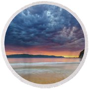 Swirling Cloudy Sunrise Seascape Round Beach Towel