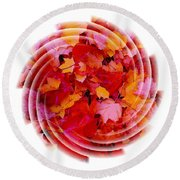 Swirling Colored Leaves Round Beach Towel