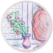 Curtain- Swirling  Round Beach Towel