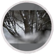 Swirling Into Winter Round Beach Towel