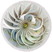 Swirling Petals Round Beach Towel