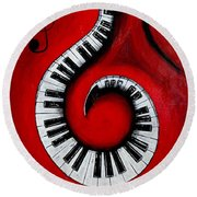 Swirling Piano Keys- Music In Motion Round Beach Towel