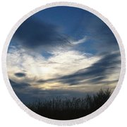 Swirling Skies Round Beach Towel