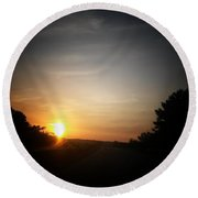 Swirling Sunrise Round Beach Towel
