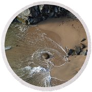Swirling Surf And Rocks Round Beach Towel by Charlene Mitchell