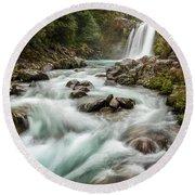 Swirling Waters - Tawhai Falls Round Beach Towel