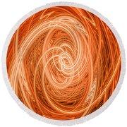 Swirls Of Orange Round Beach Towel