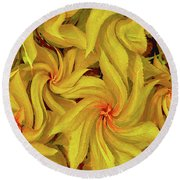 Swirly, Yellow Leaves Round Beach Towel
