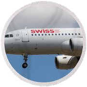 Swiss Airlines Airbus A320 Round Beach Towel