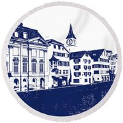 Swiss City Round Beach Towel