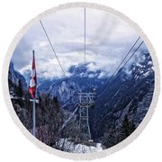 Swiss Funicular Round Beach Towel