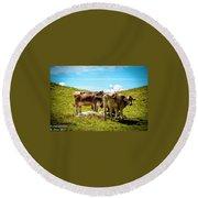 Happy Swiss Cows Round Beach Towel