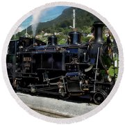 Swiss Steam Locomotive Round Beach Towel