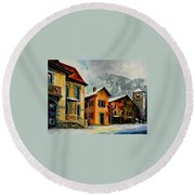 Switzerland - Town In The Alps Round Beach Towel