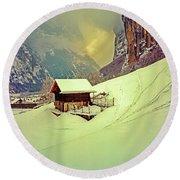 Switzerland Alps Grutschap Alpine Meadow Winter  Round Beach Towel