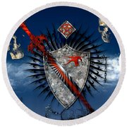 Sword And Shield Round Beach Towel
