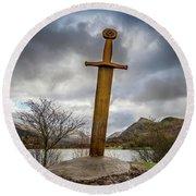 Sword Of Llanberis Snowdonia Round Beach Towel