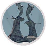 Swordfish Sculpture Round Beach Towel