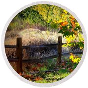 Sycamore Grove Fence 1 Round Beach Towel