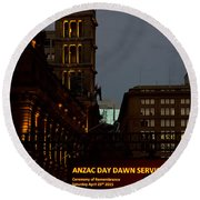 Sydney Clock On Anzac Day At Dawn Round Beach Towel