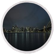 Sydney Downtown  With Opera House And Harbour Bridge At Night Round Beach Towel